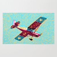 airplane Area & Throw Rugs featuring VINTAGE AIRPLANE by K. Ybarra/FotoHAUS