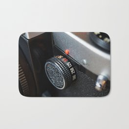 Control dial shutter speed on retro photo camera Bath Mat