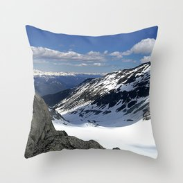 Mountains dappled with snow and rock Throw Pillow
