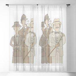 The Detectives - Marple, Poirot and Sherlock Sheer Curtain