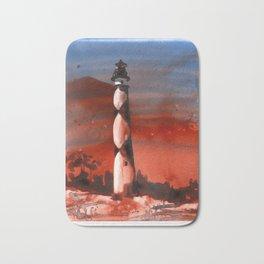 Fine art watercolor painting of Cape Lookout lighthouse Bath Mat