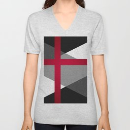 Black and White Triangles // Red Pink Cross (Golden Ration) Unisex V-Neck