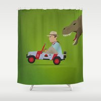 jurassic park Shower Curtains featuring Jurassic Park by DWatson