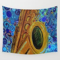 saxophone Wall Tapestries featuring Saxophone  by gretzky