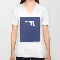 maryland V-neck T-shirts featuring Maryland Minimalist Vintage Map by Finlay McNevin