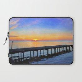 Summer Lake Waccamaw Sunrise - watercolor rendition Laptop Sleeve