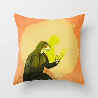 kermit Throw Pillows featuring kool kermit by Kingu Omega