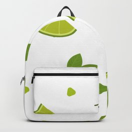 Green Lime and Mint Mojito Print Backpack