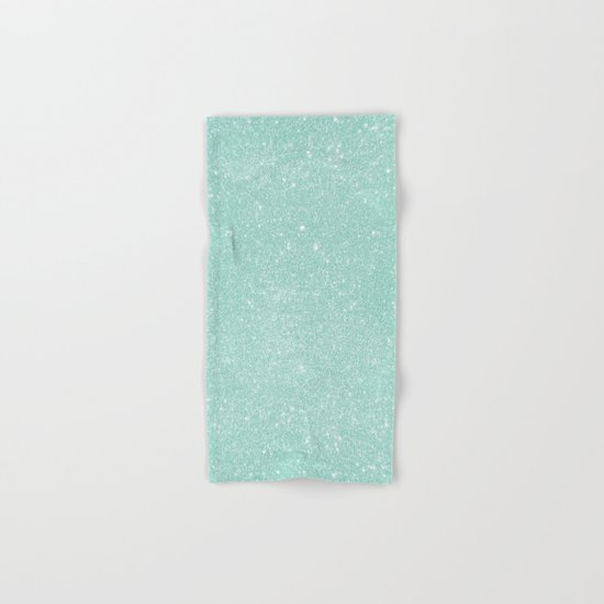 Pastel Turquoise Glitter Hand & Bath Towel