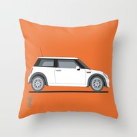 mini cooper Throw Pillows featuring Mini Cooper by Aimee Liwag