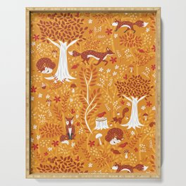 Foxes in a Forest of Fall Trees Serving Tray