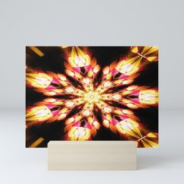 Golden Fire Snowflake Mini Art Print