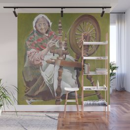 Old Irish Woman Sitting At A Spinning Wheel Wall Mural