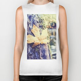 maple leaf on the tree with river and forest background Biker Tank