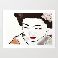 Geisha Girl Watercolor Art Print