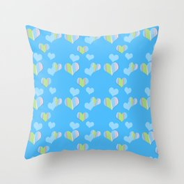 Cotton Candy with Hearts Throw Pillow