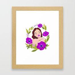 Girl and Anemone Framed Art Print