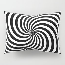 Black And White Op Art Spiral Pillow Sham