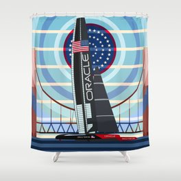 Never Give Up ! Oracle Team USA America's Cup Shower Curtain