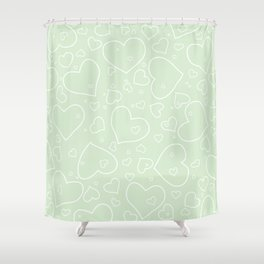 Palest Green and White Hand Drawn Hearts Pattern Shower Curtain