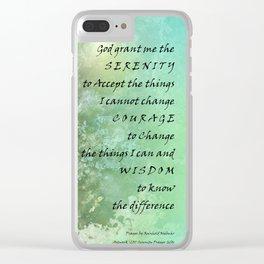 Serenity Prayer Campanula Clear iPhone Case