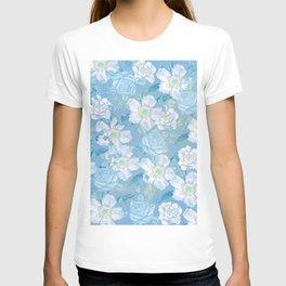 Blue Vintage Rose Pattern T-shirt