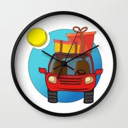 Travel car cartoon design Wall Clock