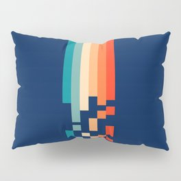Classic 70s Style Abstract Rainbow Retro Stripes Pixel Drops - Ayako Pillow Sham