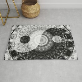 Ideal Balance Black And White Yin and Yang by Sharon Cummings Rug