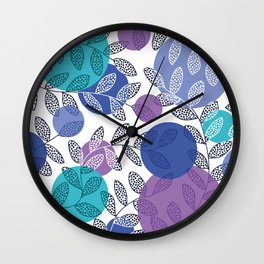 Round of Blue Leaves Wall Clock