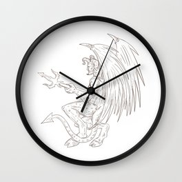 Demon Holding Pitchfork Drawing Wall Clock