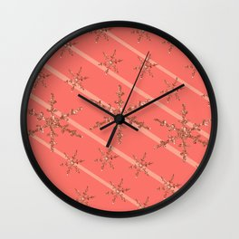 Living Coral Snowflakes Wall Clock