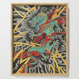 Japanese Dragon Tattoo Art Serving Tray