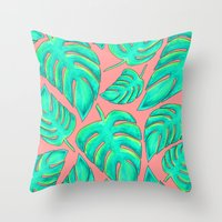 palms Throw Pillows featuring Palms by Anika Kirk