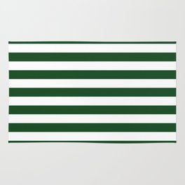 Large Forest Green and White Rustic Horizontal Beach Stripes Rug