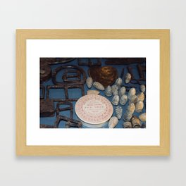 Belt buckles, iron musket bullets and perfume Framed Art Print
