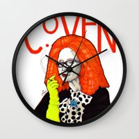 coven Wall Clocks featuring WE PROTECTED THE COVEN by Robert Red ART