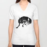 wolf V-neck T-shirts featuring Wolf by Anya Volk