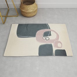 Retro Abstract Design in Shell Pink and Peninsula  Blue Rug