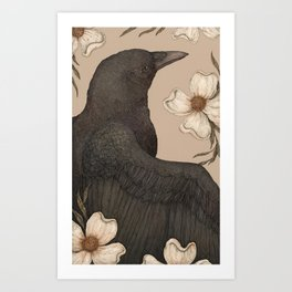 The Crow and Dogwoods Art Print