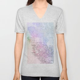 World Map North America Unisex V-Neck
