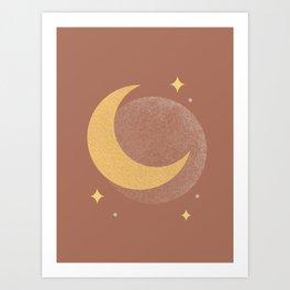 Moon Sparkle Gold - Celestial Art Print