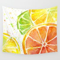 fruit Wall Tapestries featuring Fruit Watercolor by Olechka