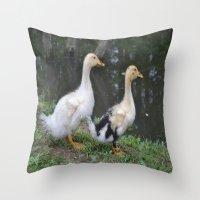 ducks Throw Pillows featuring Ducks by Stephanie Owens