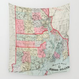 Vintage Map of Rhode Island (1887) Wall Tapestry