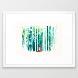 Fox in quiet forest Framed Art Print
