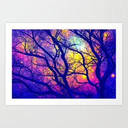 Black Trees Deep Bright & Colorful Space Art Print