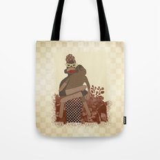 Sock Monkey Mother and Child Tote Bag