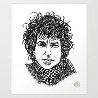 bob dylan Art Prints featuring Bob Dylan by The Curly Whirl Girly.