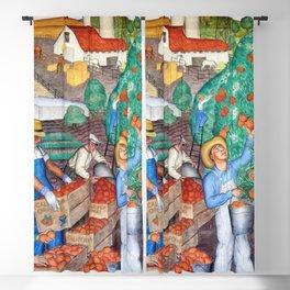 Orange Grove harvest portrait painting WPA mural Blackout Curtain